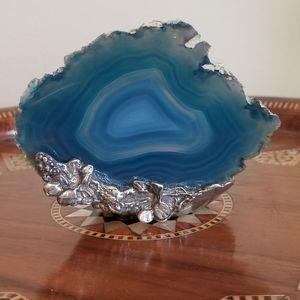 Blue Agate Slice Candle Holder